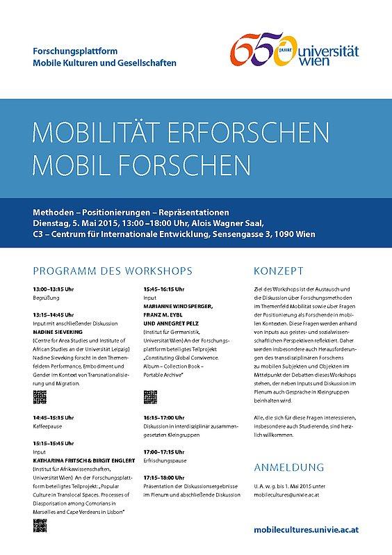 """WORKSHOP  """"Mobilität erforschen – mobil forschen:  Methoden – Positionierungen – Repräsentationen"""""""